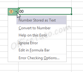 Error of Excel number formatted as text
